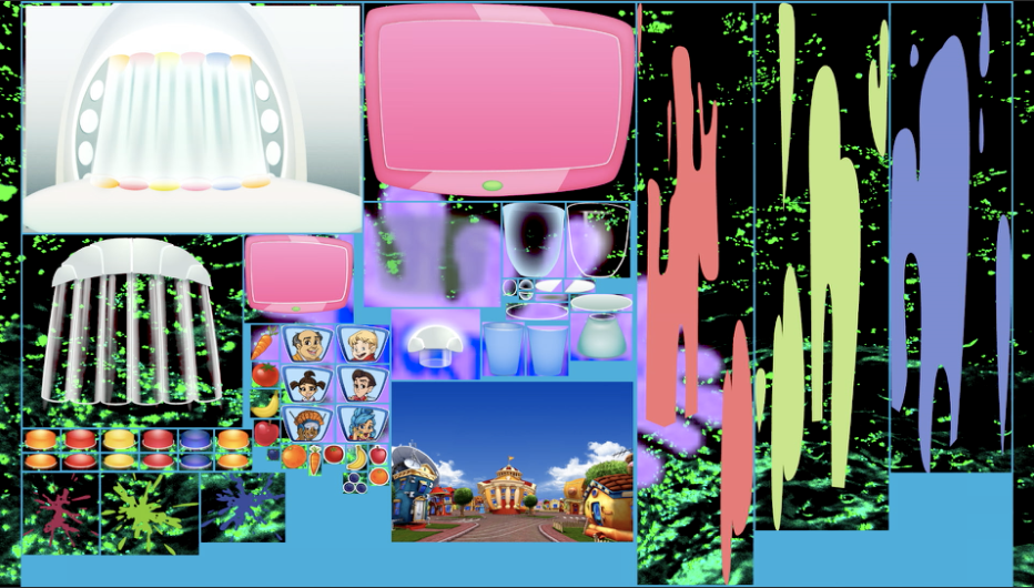 Nicktoons Logo Circa 2004 Overlayed w/ LazyTown PC Game Sprite Sheet Over Black Sea