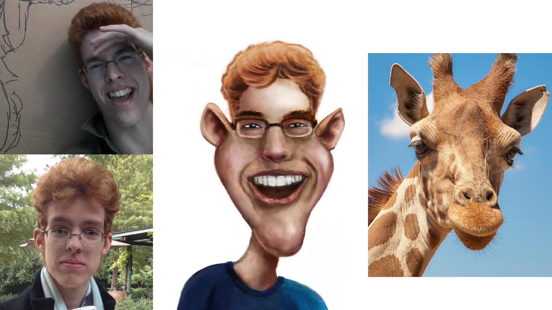 Caricature - Crossing Ezra with a Giraffe