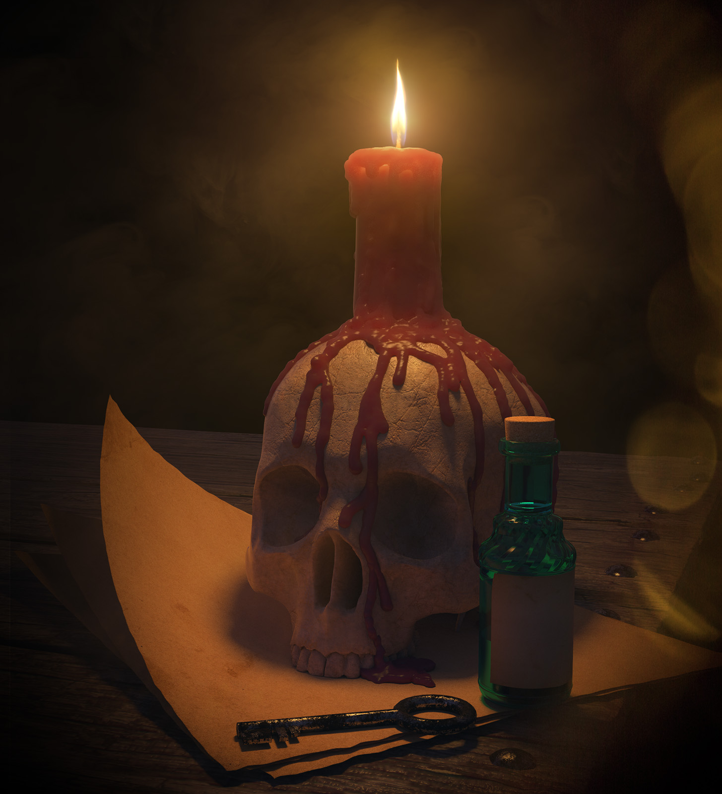 Skull with Candle 2