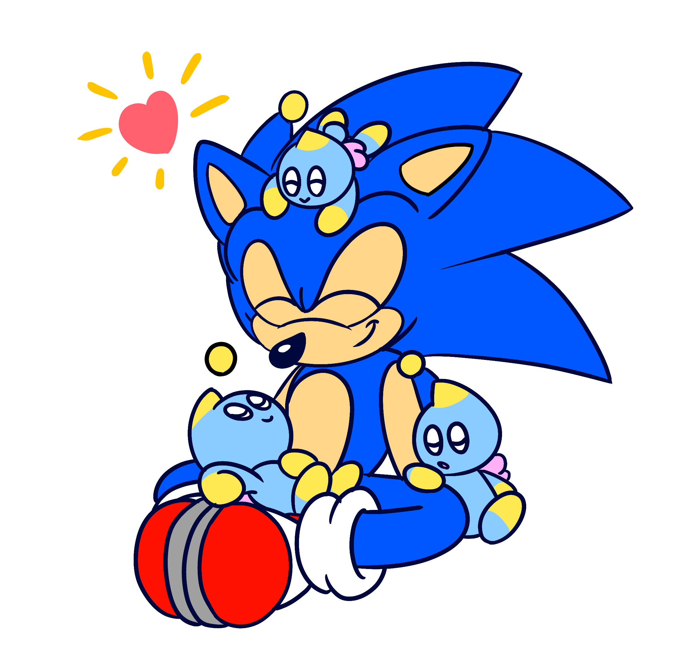 sonic with chao by drawn by aj on newgrounds