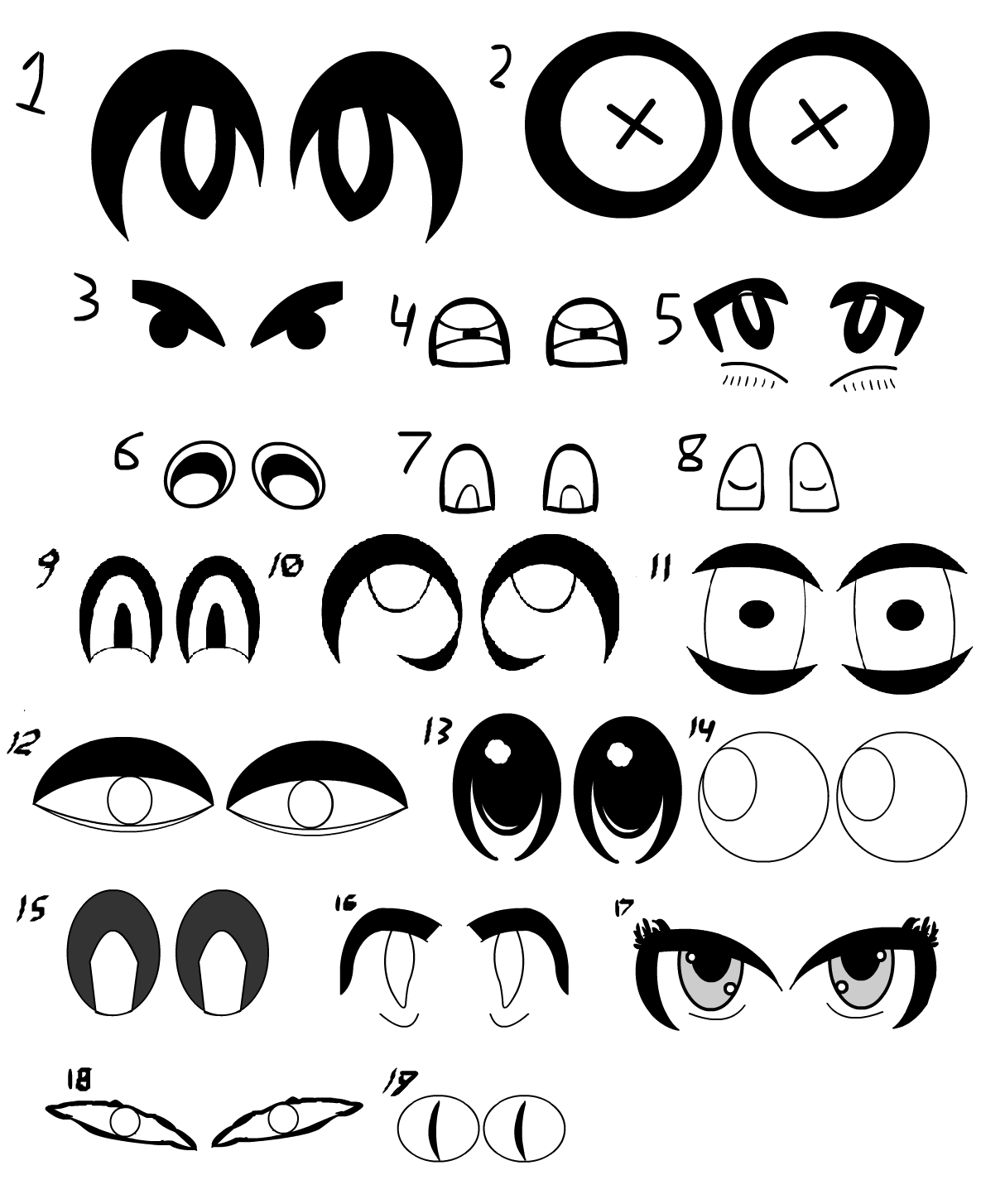 Various styles of drawing eyes