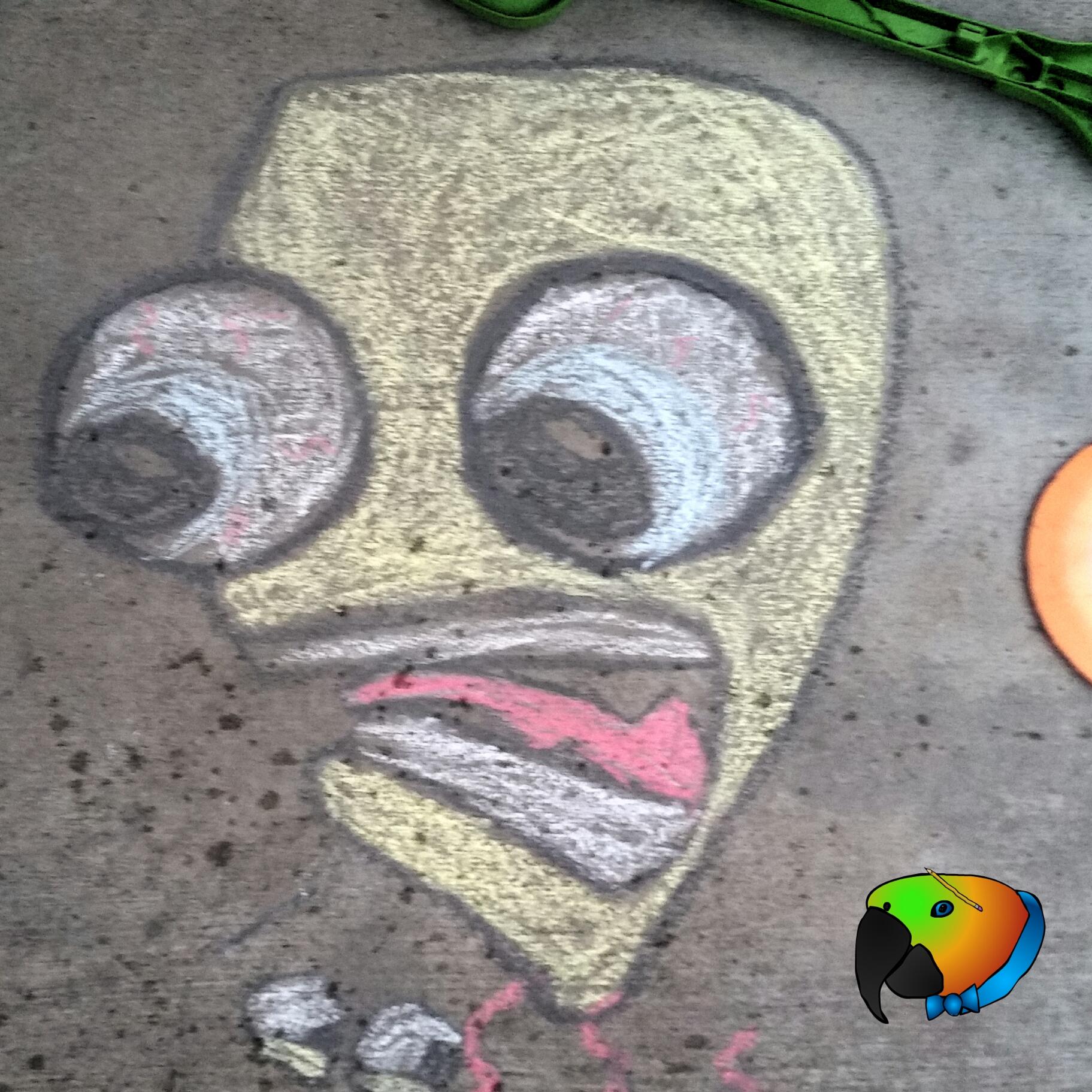 Cartoon head chalk art