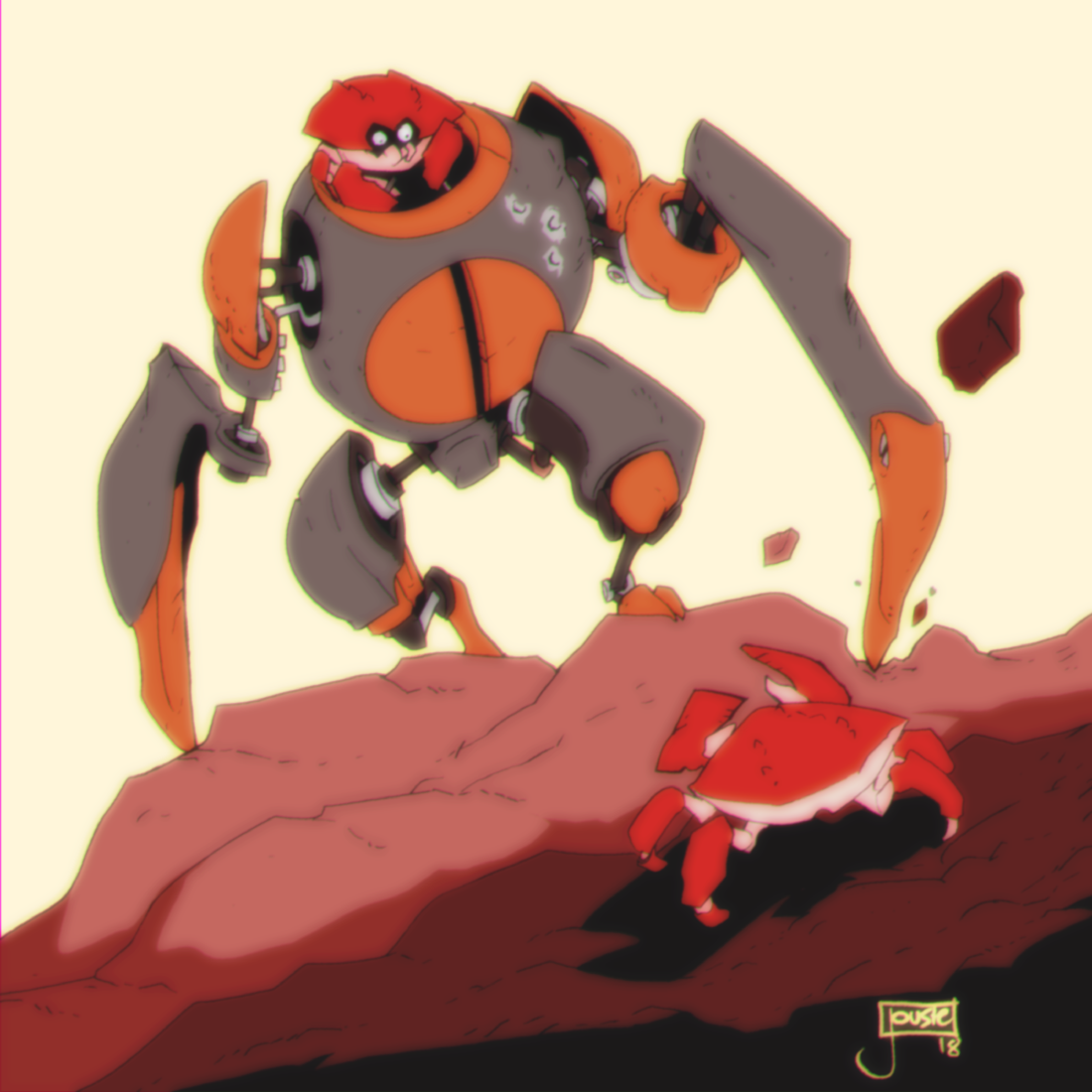 Crabulon fights regular crab