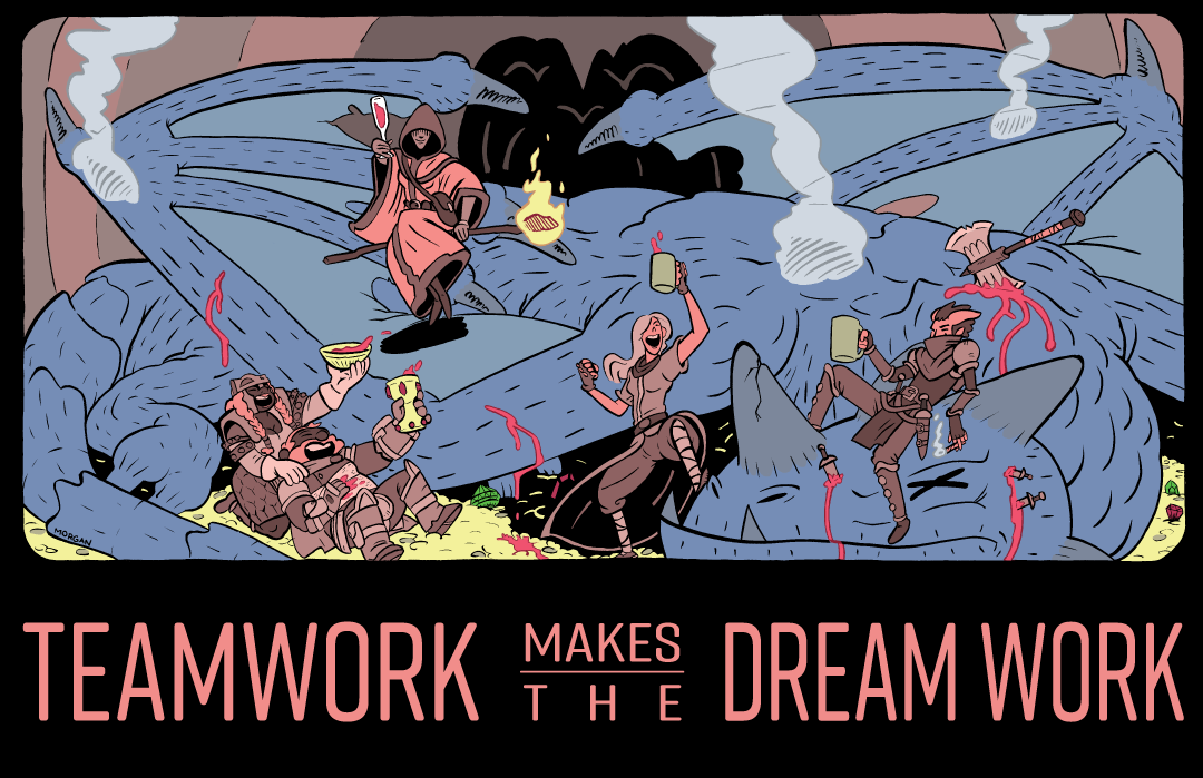 RPG Motivation Poster - Teamwork makes the Dream Work