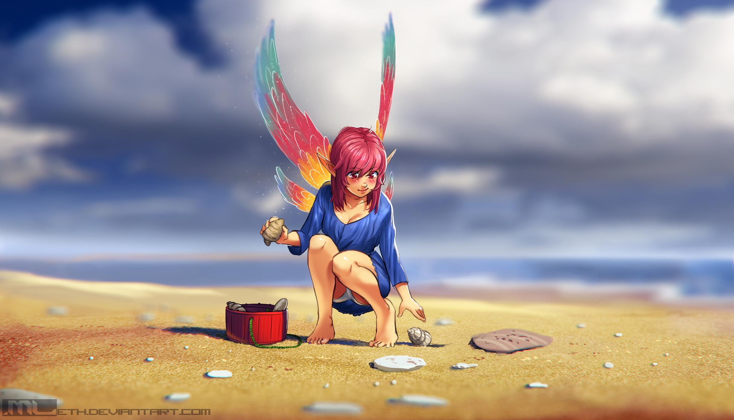 Erylia collecting seashells