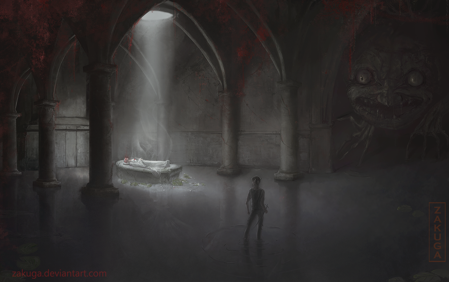 'Go to the Girl' dungeon horror concept