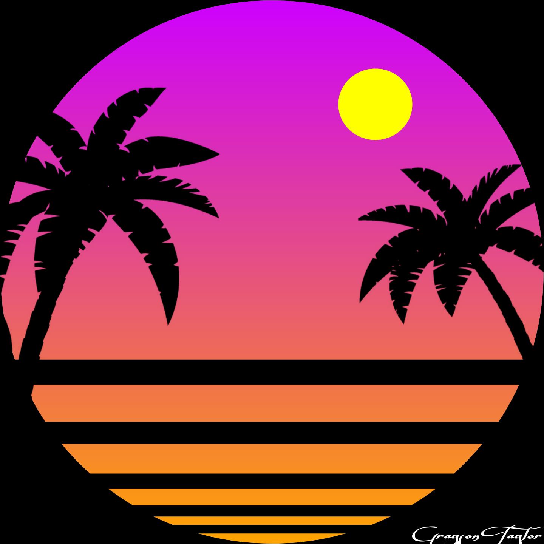 80s retrowave sunset