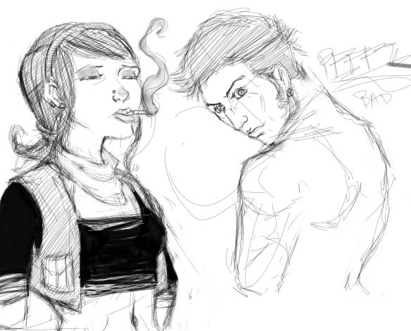 Smoking Girl Sketch 2