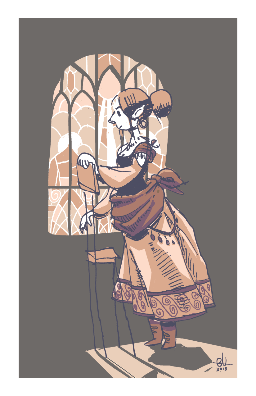 Elven Woman Before Stained Glass