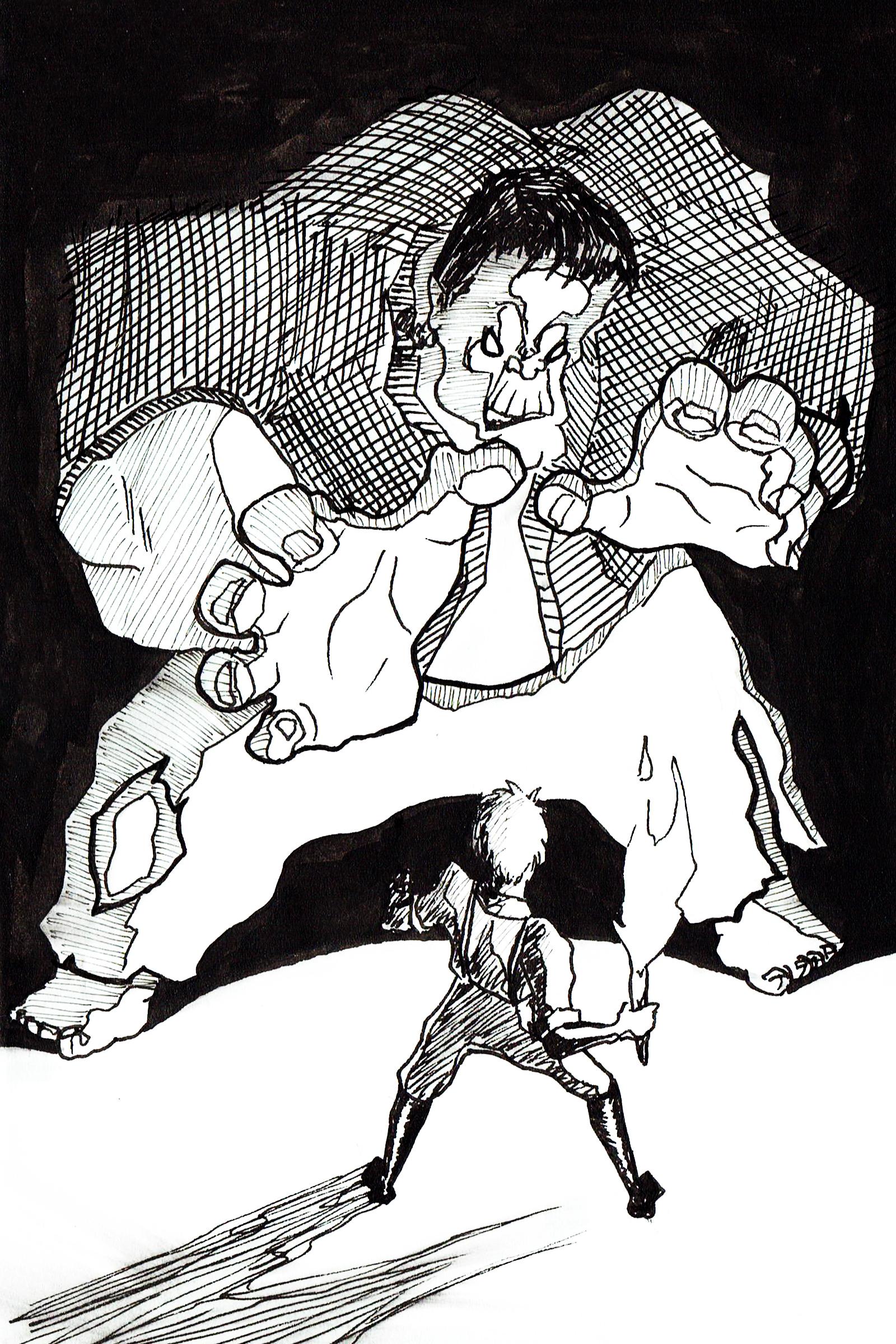 Frankenstein in the Dark Ink Drawing