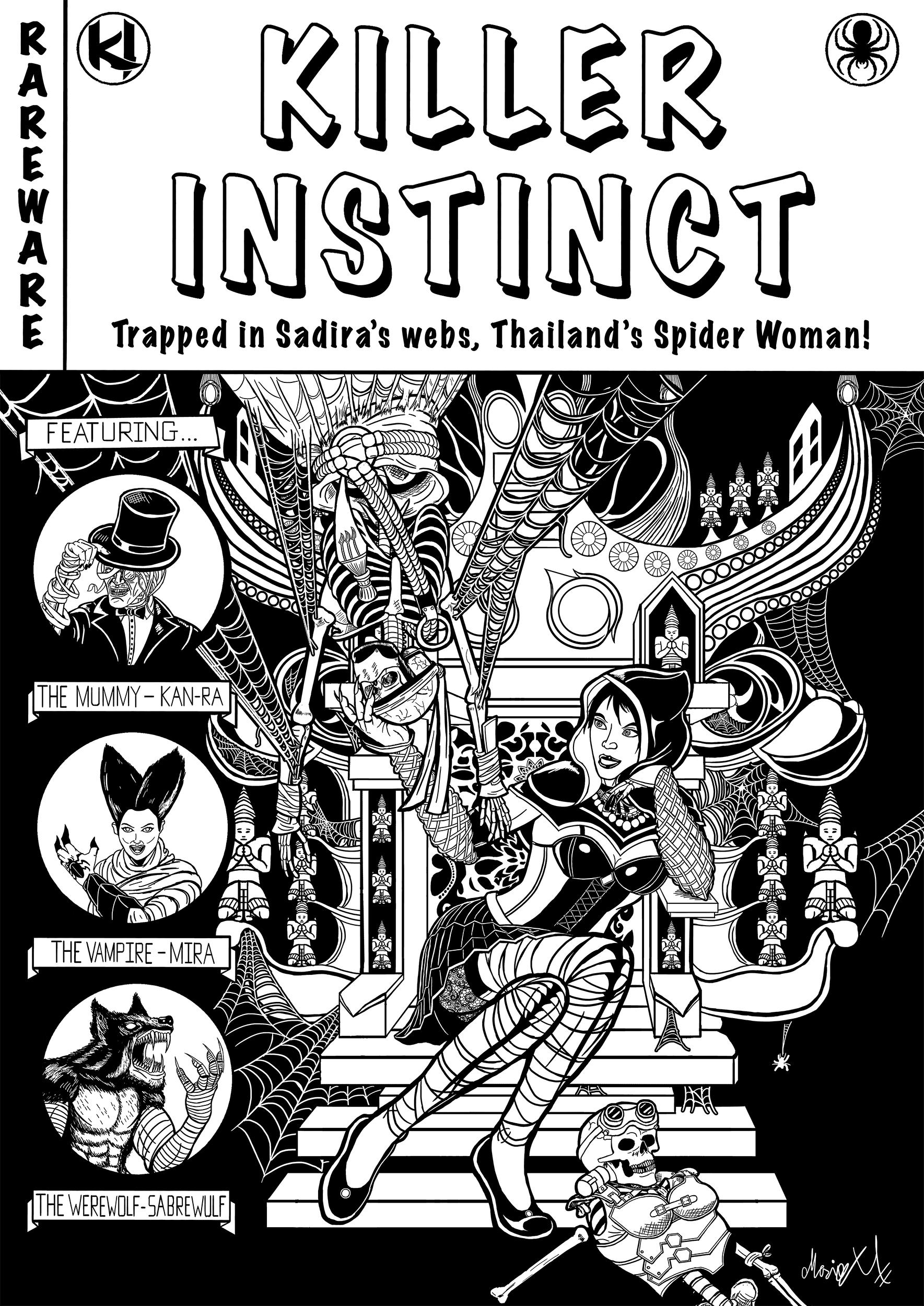 Killer Instinct Sadira horror comic cover inked