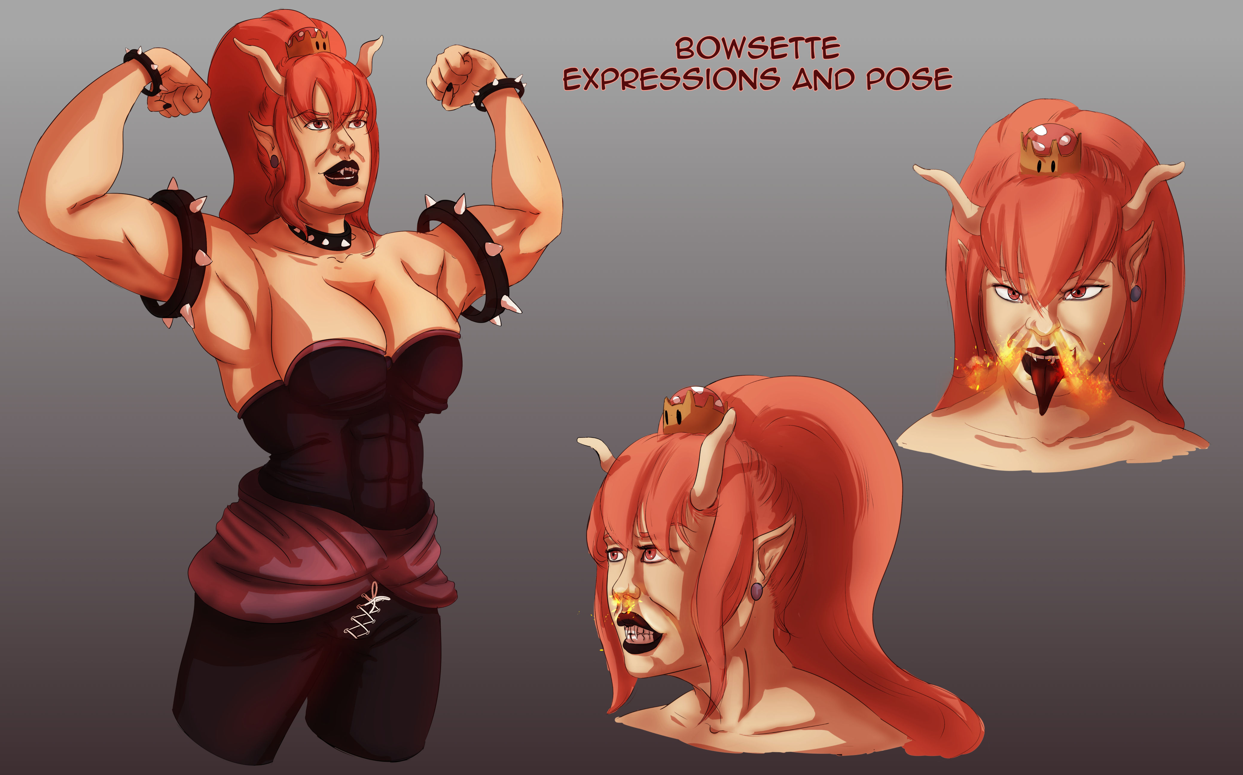 Bowsette expressions and pose