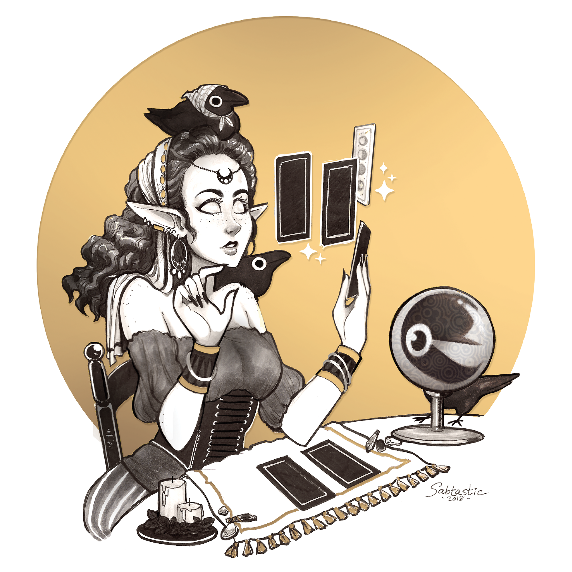 Fortune Teller with Crows