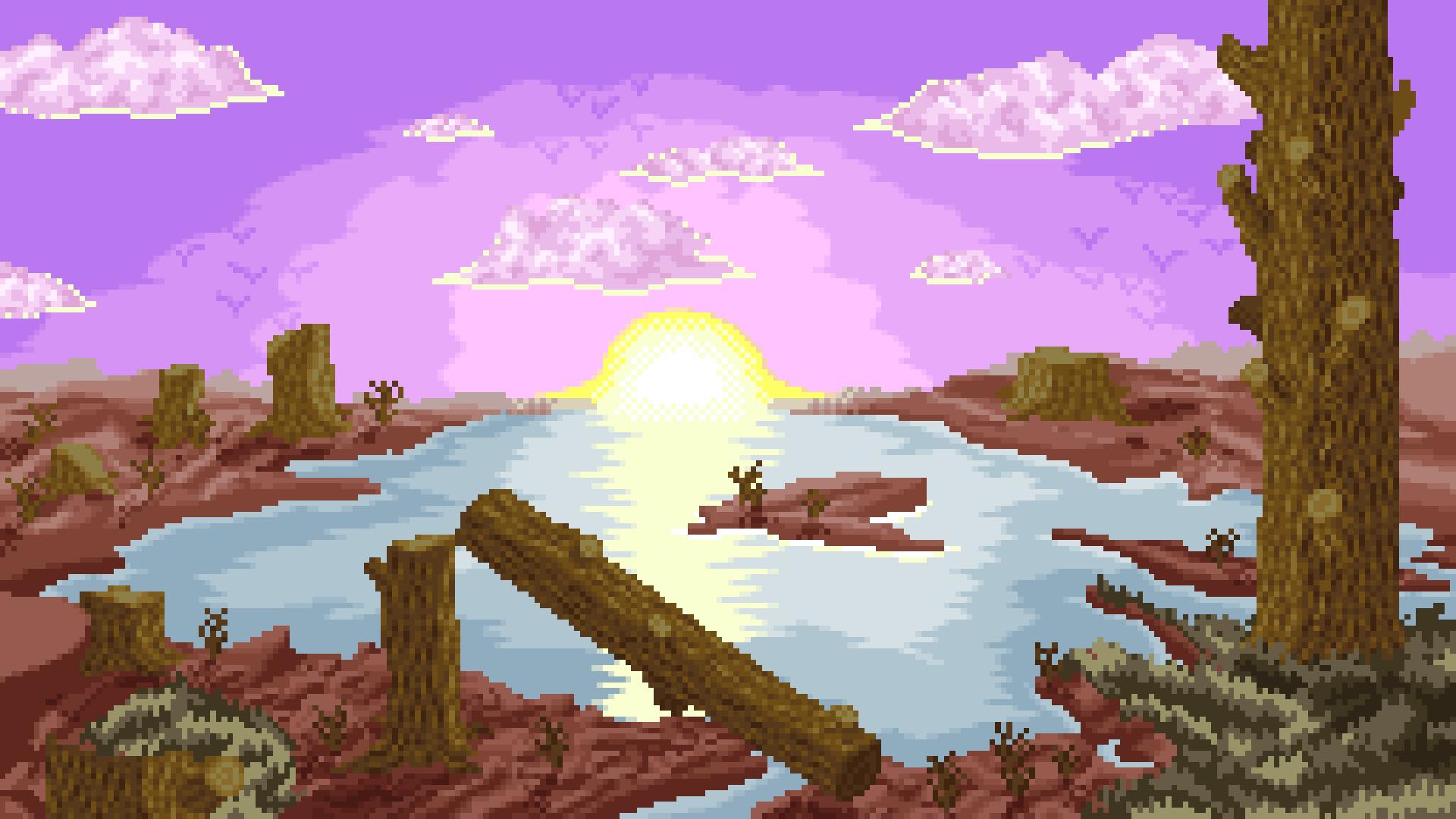 Sunset View Pixel Art Wallpaper