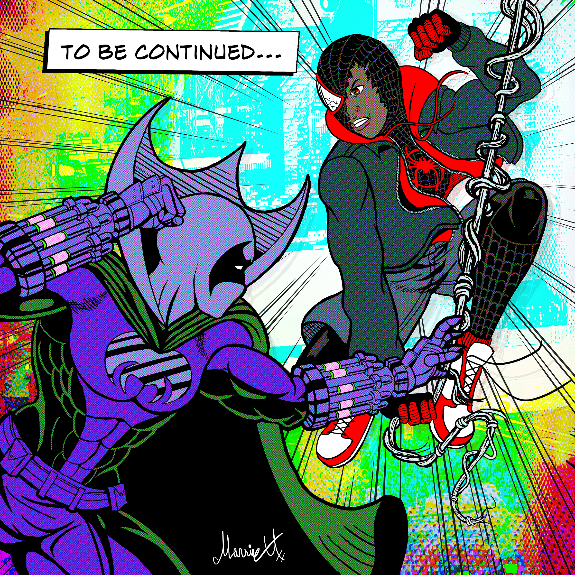 Miles Morales Spider-man vs Prowler colored