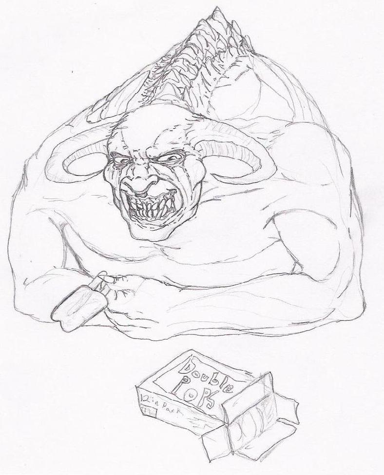Demon Enjoying Popsicles