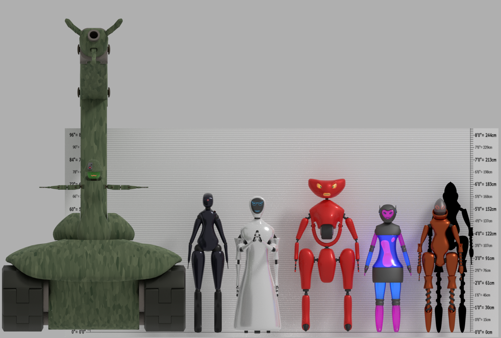 six robot girl height chart