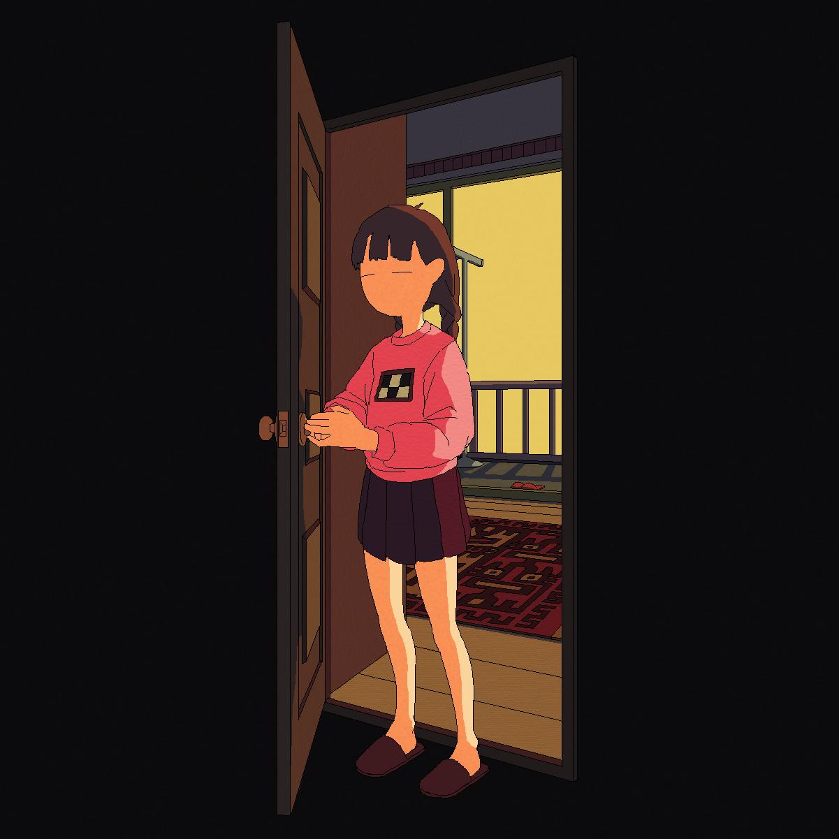 Madotsuki opening her room's door