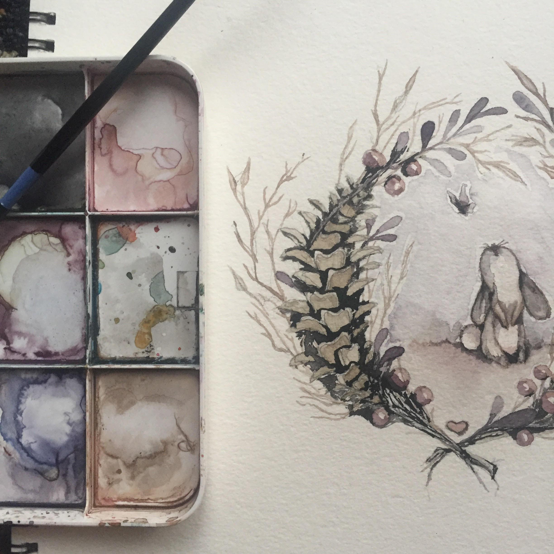 Watercolor Bunny Boi