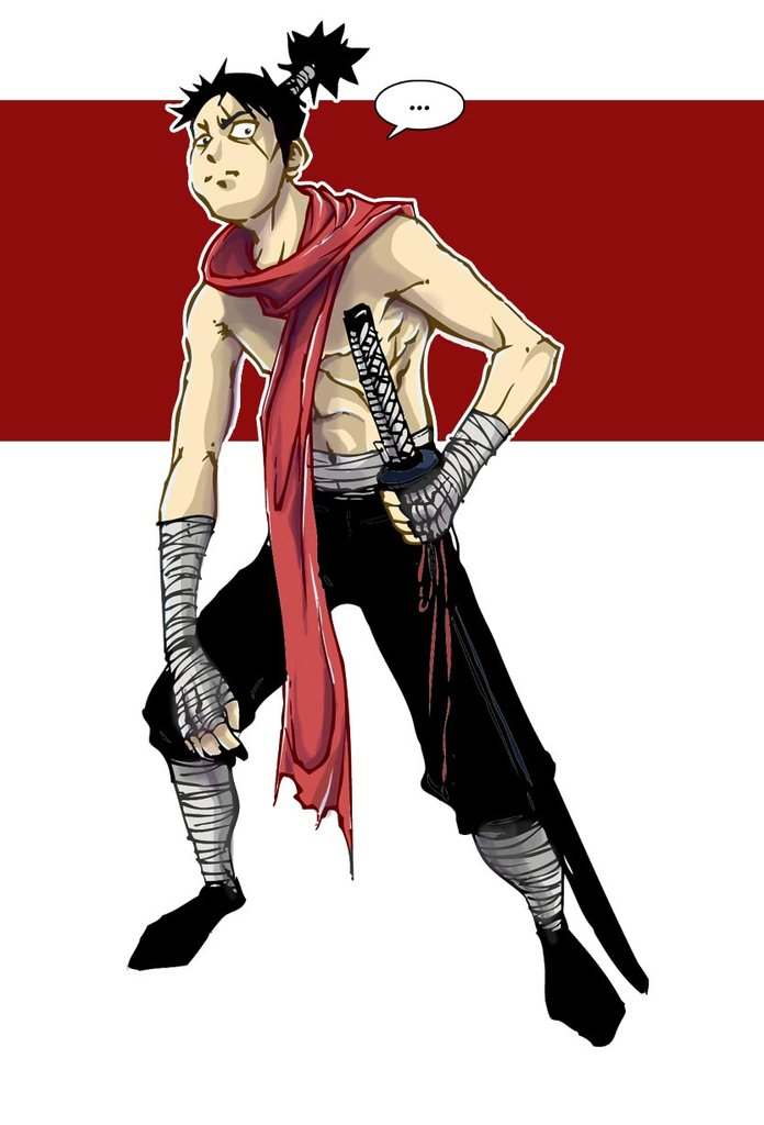 Topless ninja