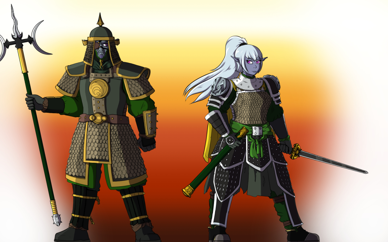 Night elves in Chinese Armour (rough shade)