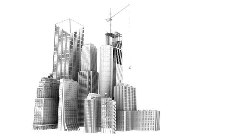 Ranondom 3D buildings