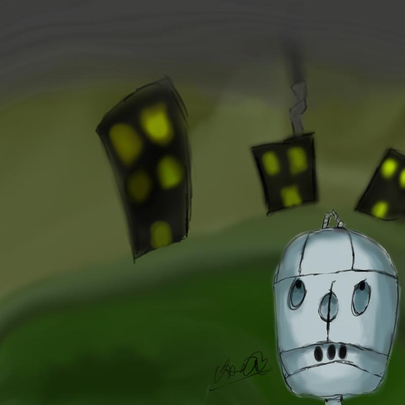 Foggy city, sad robot