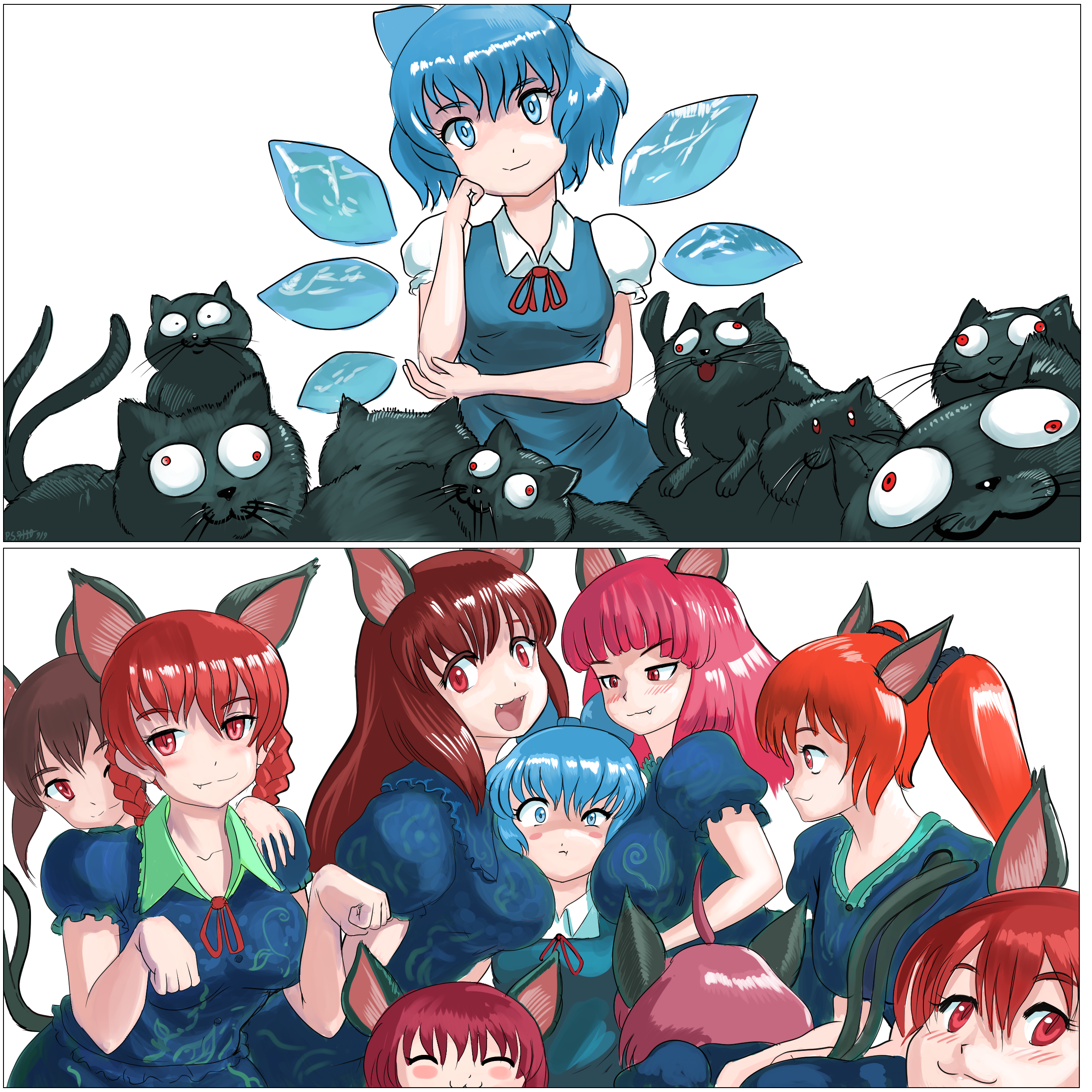 Cirno with Hell Cats