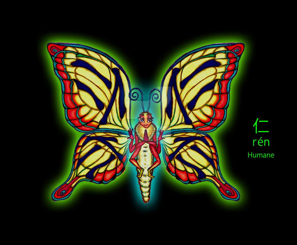 Inktober Ren Chinese Butterfly Humane