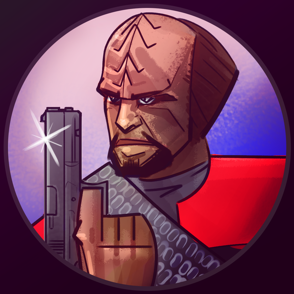 Worf but with a glock