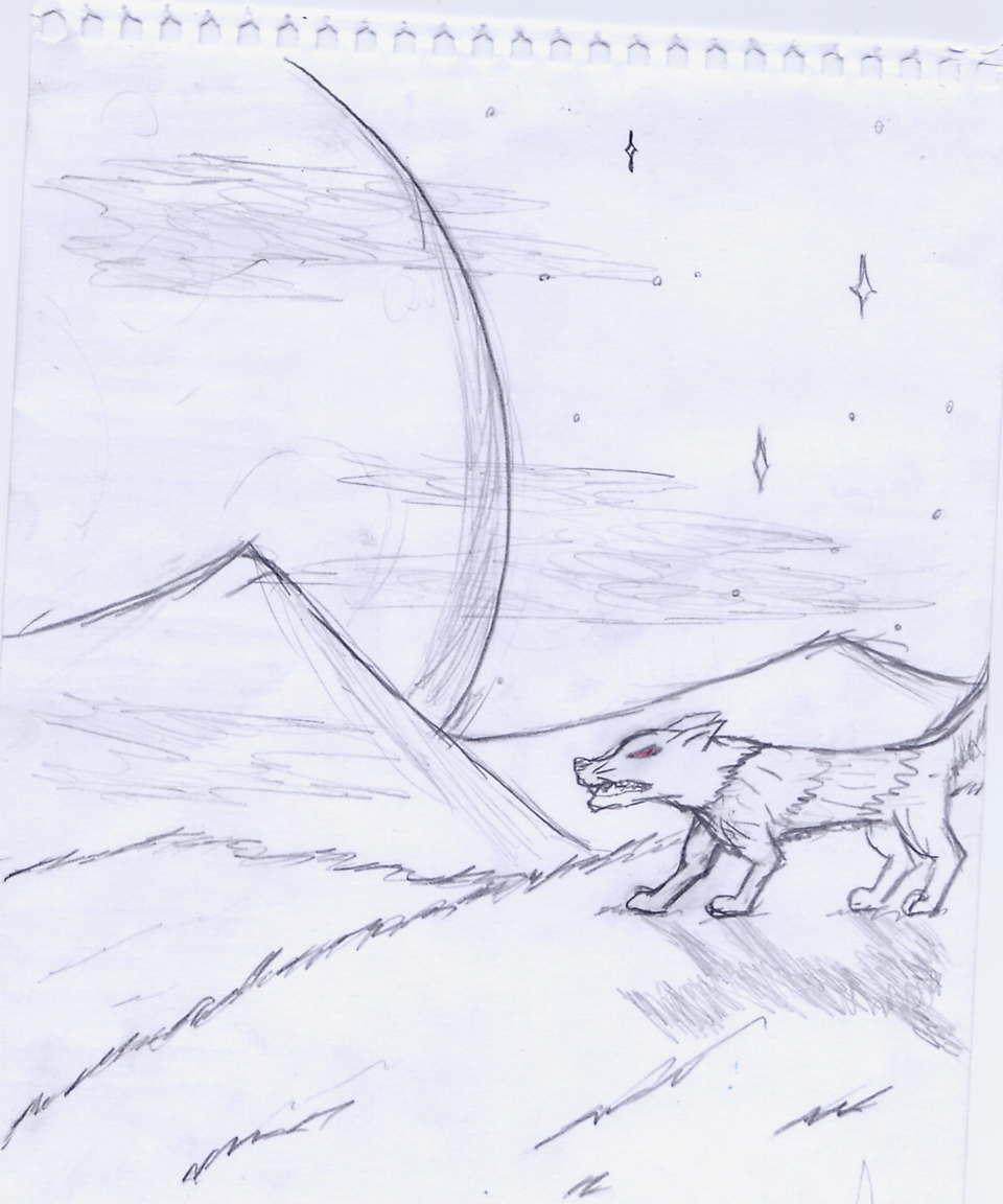 Big moon, angry wolf