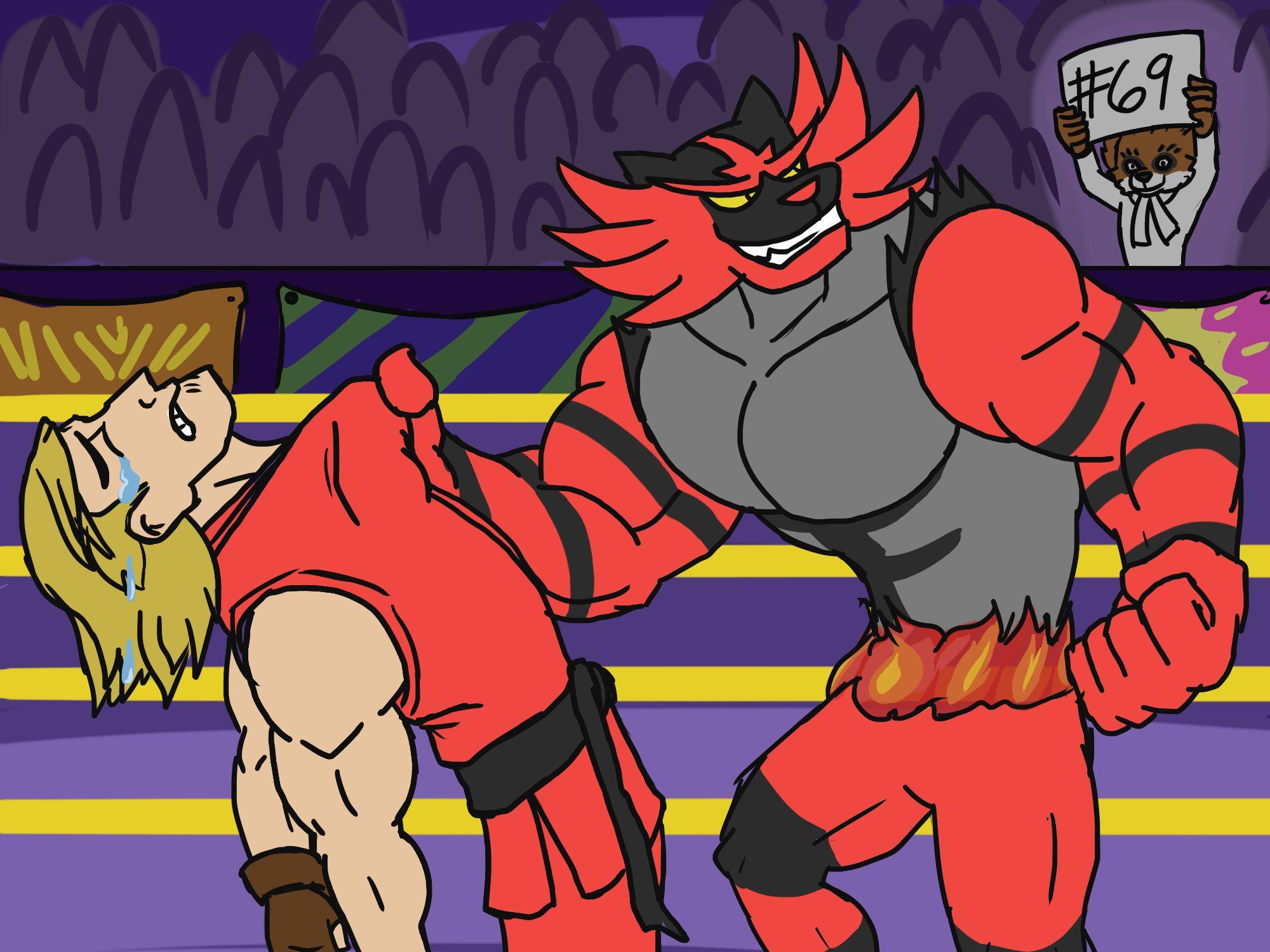 Incineroar beats up Ken while Ash cheers him on