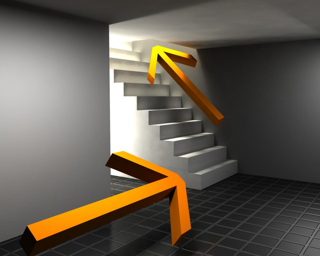 Follow the bright orange arrow