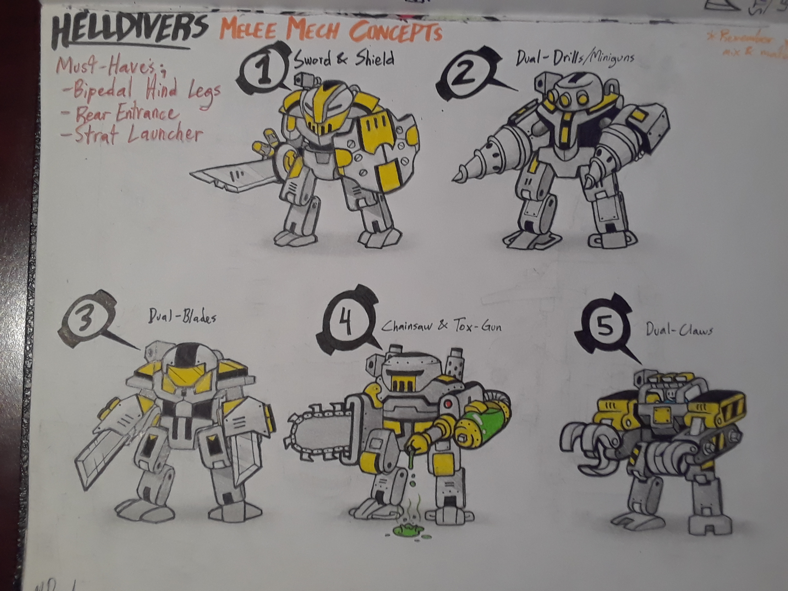 HELLDIVERS - Melee Mechs (Concepts)