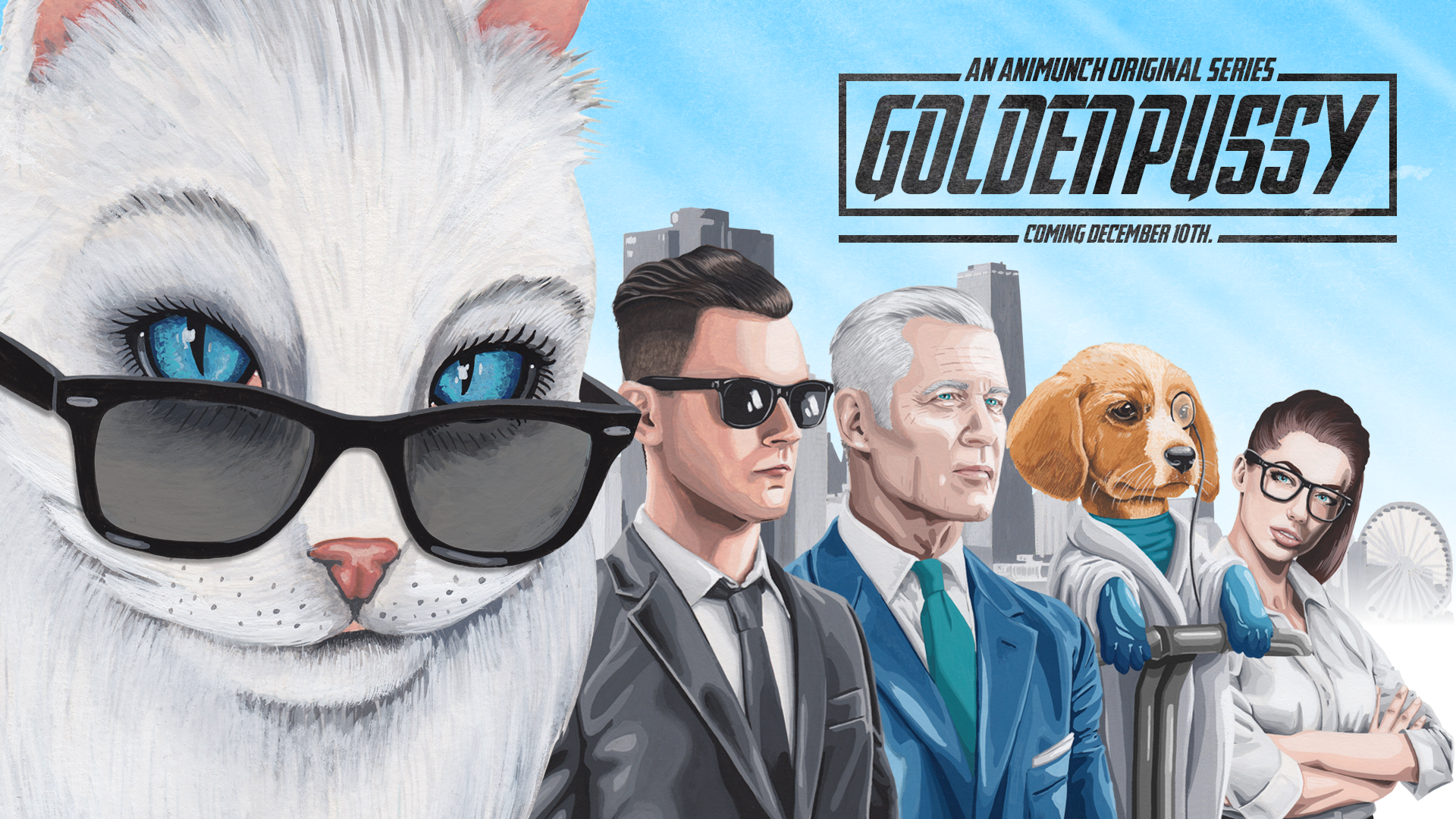 Golden Pussy Watercolour Poster