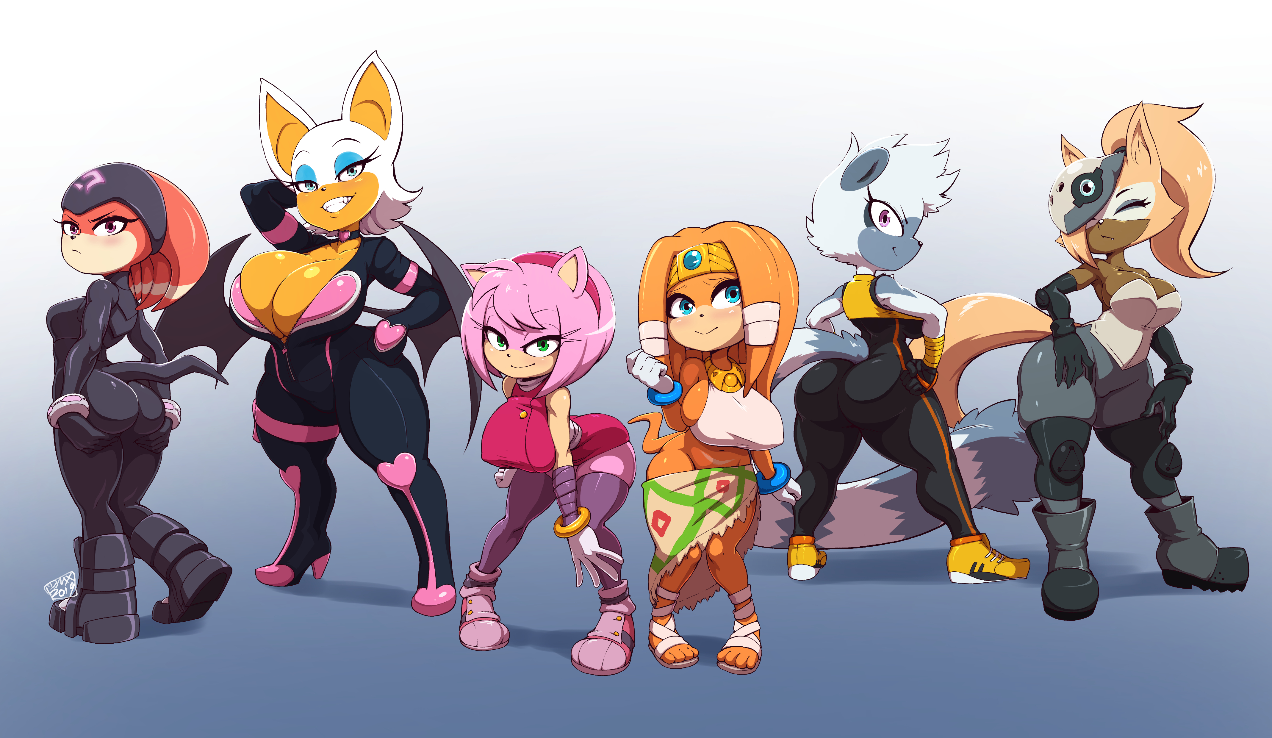 Commission - sonic girl line up