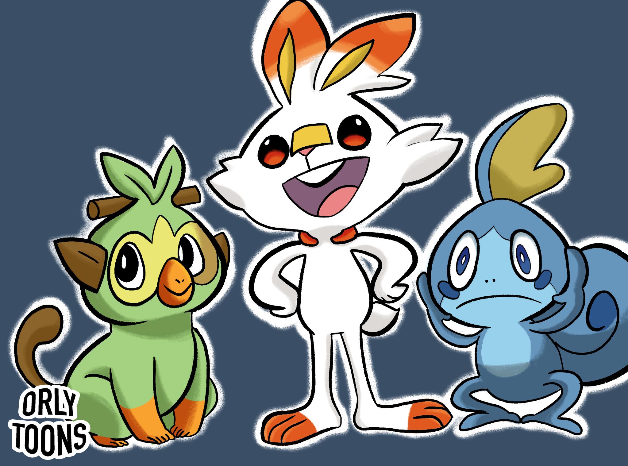 Pokemon Sword Shield Starters By Orlytoons On Newgrounds