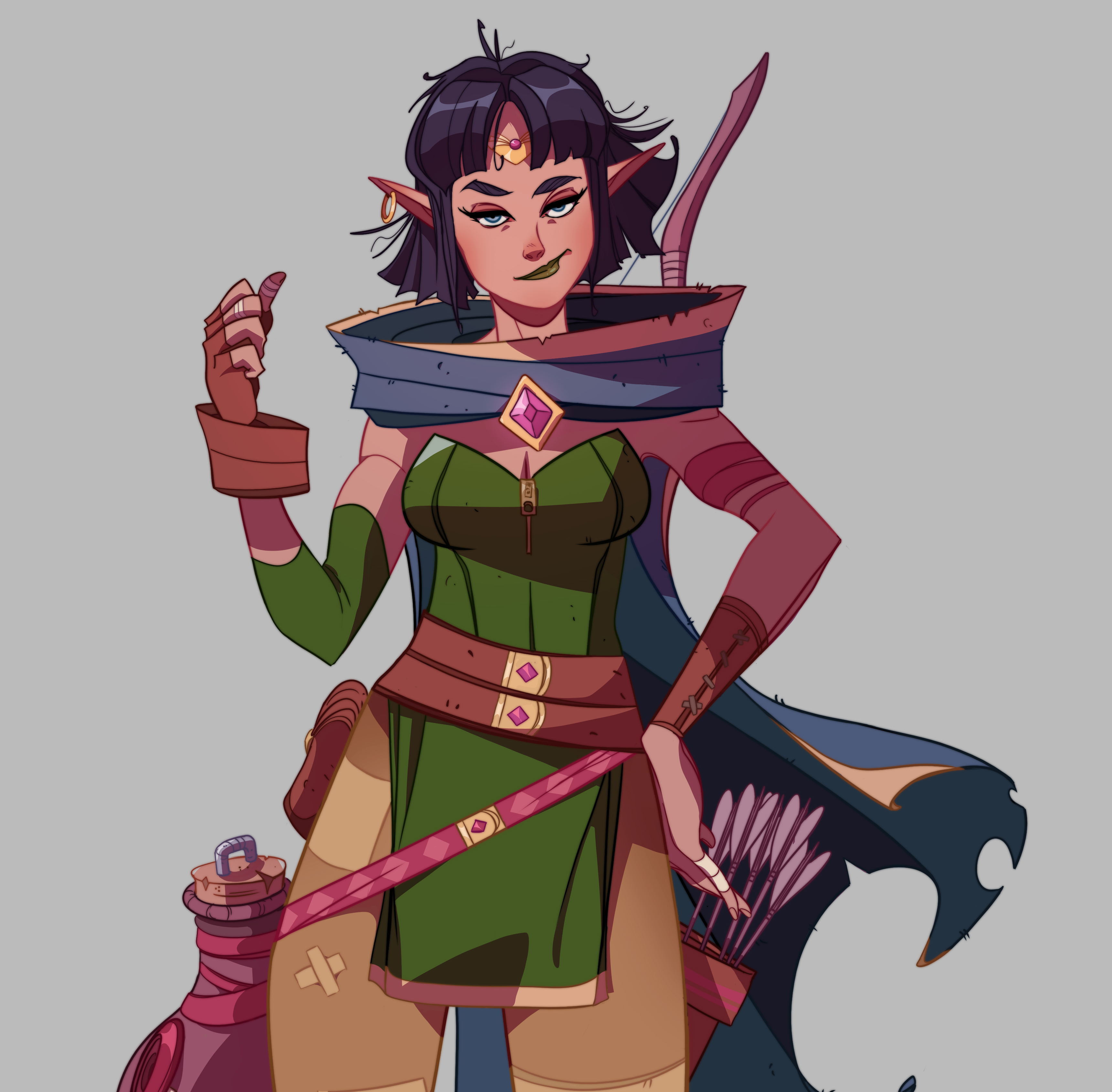 Salora: the Rogue Elf with some alcohol issues.