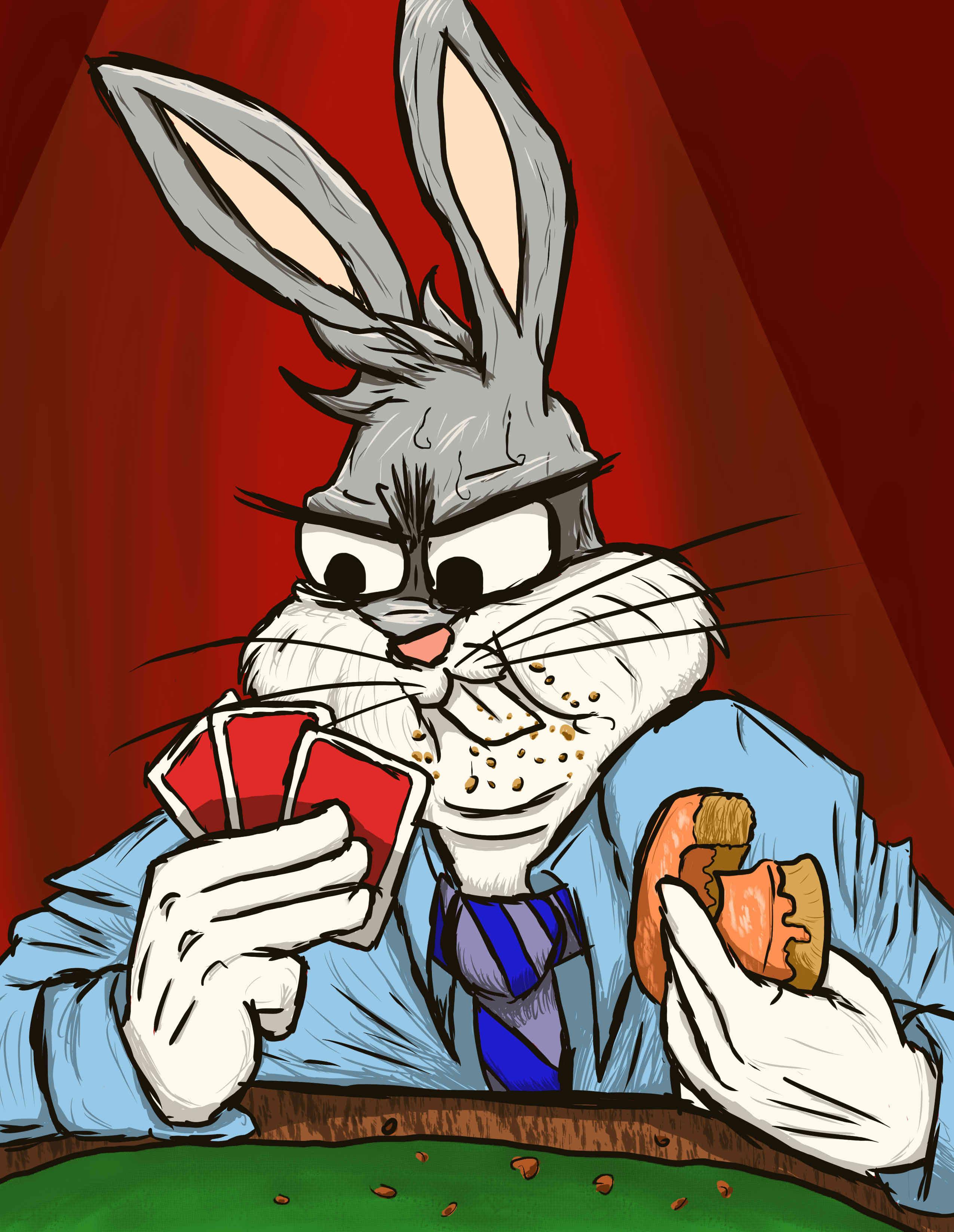 a Bootleg Bugs Bunny Playing Poker