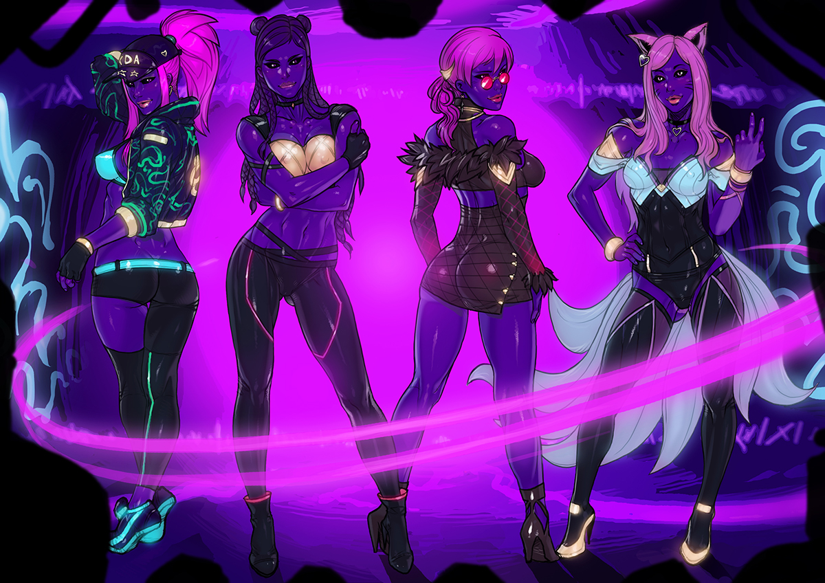"K/DA POPSTARS ""Blacklight ver."" commission"