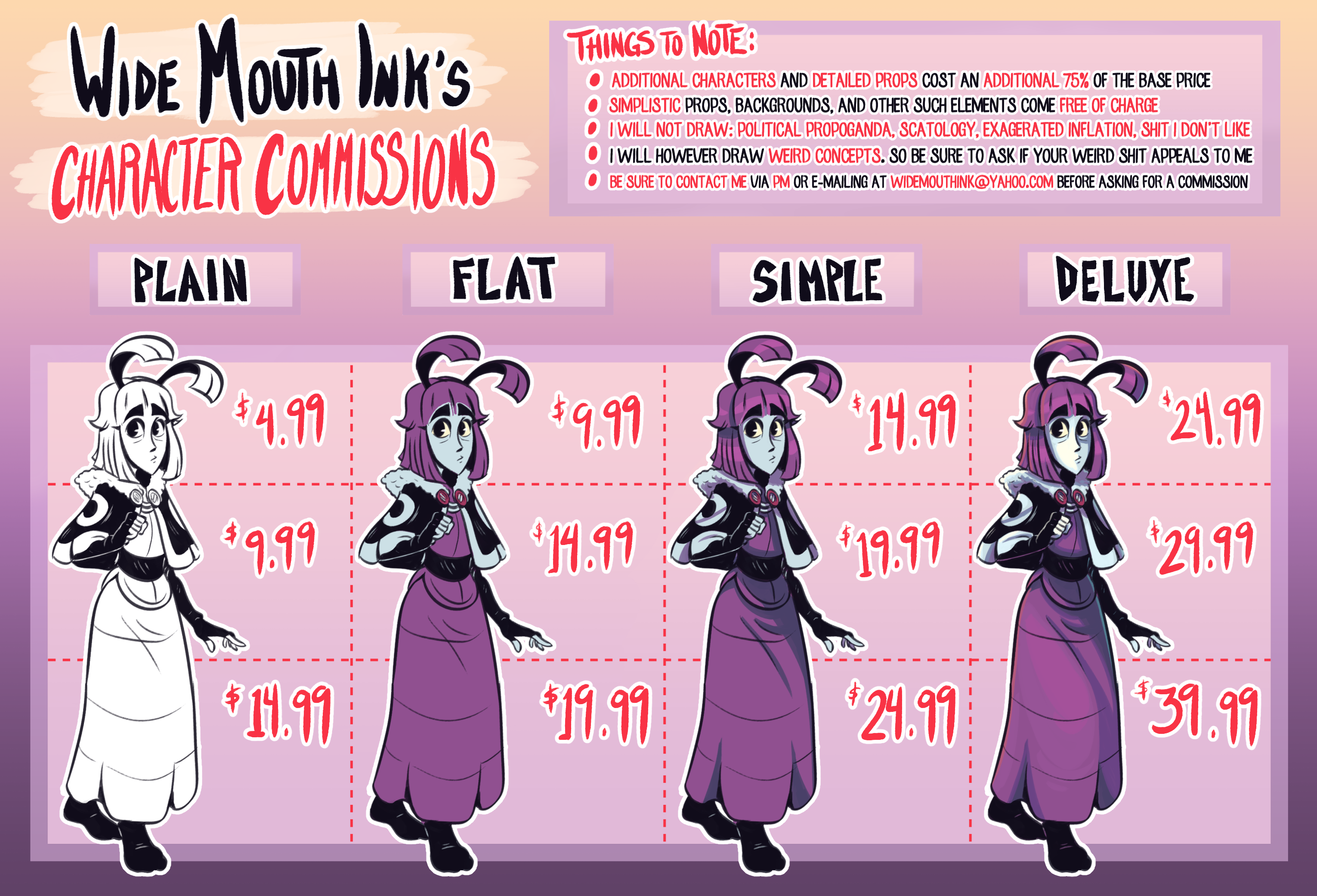 character commission sheet by widemouthink on newgrounds