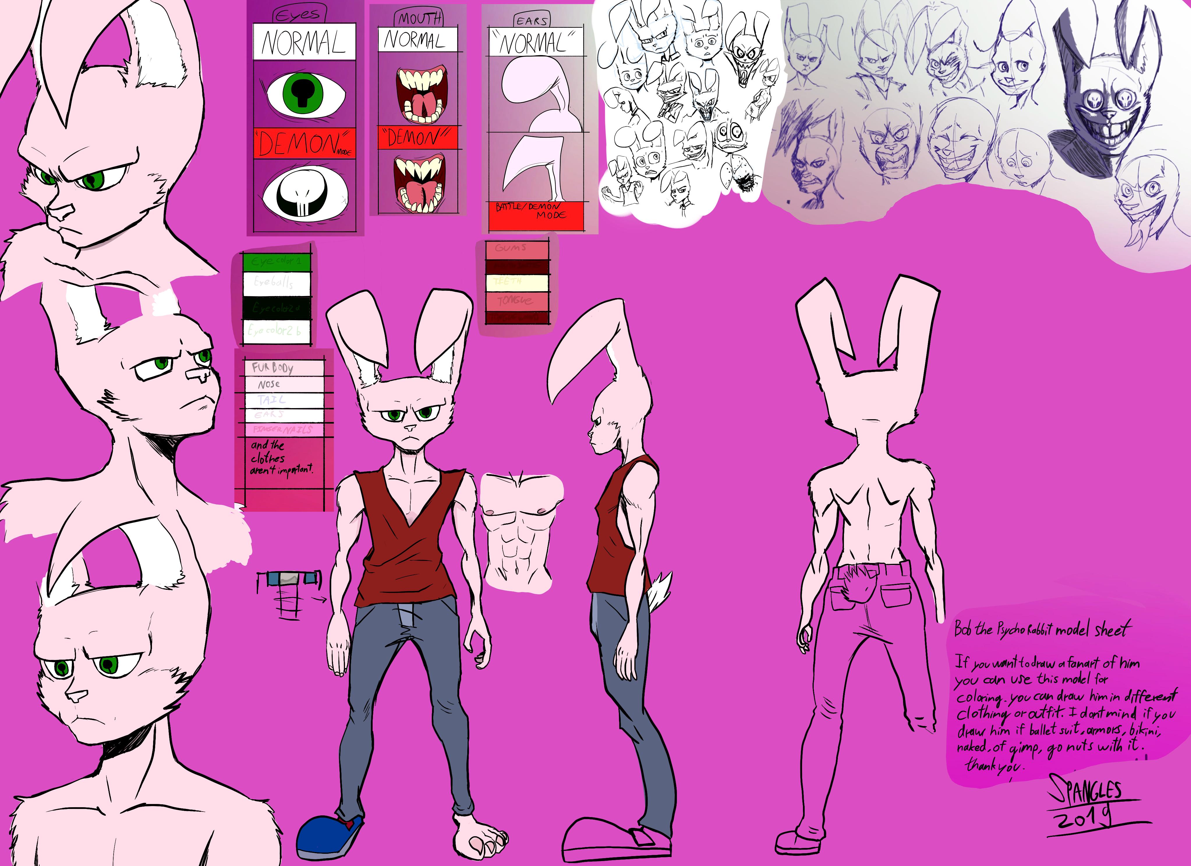 Bob the psycho Rabbit Model Sheet 2019