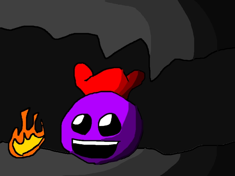 A ball with a hat beside fire