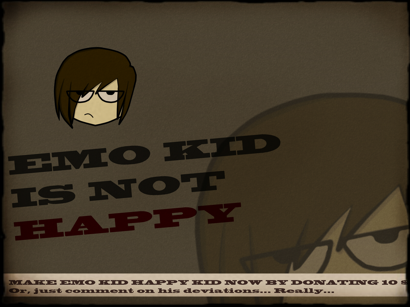 Emo kid is not happy!