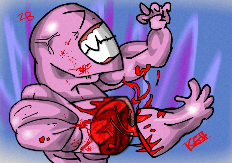 pink monster without arm