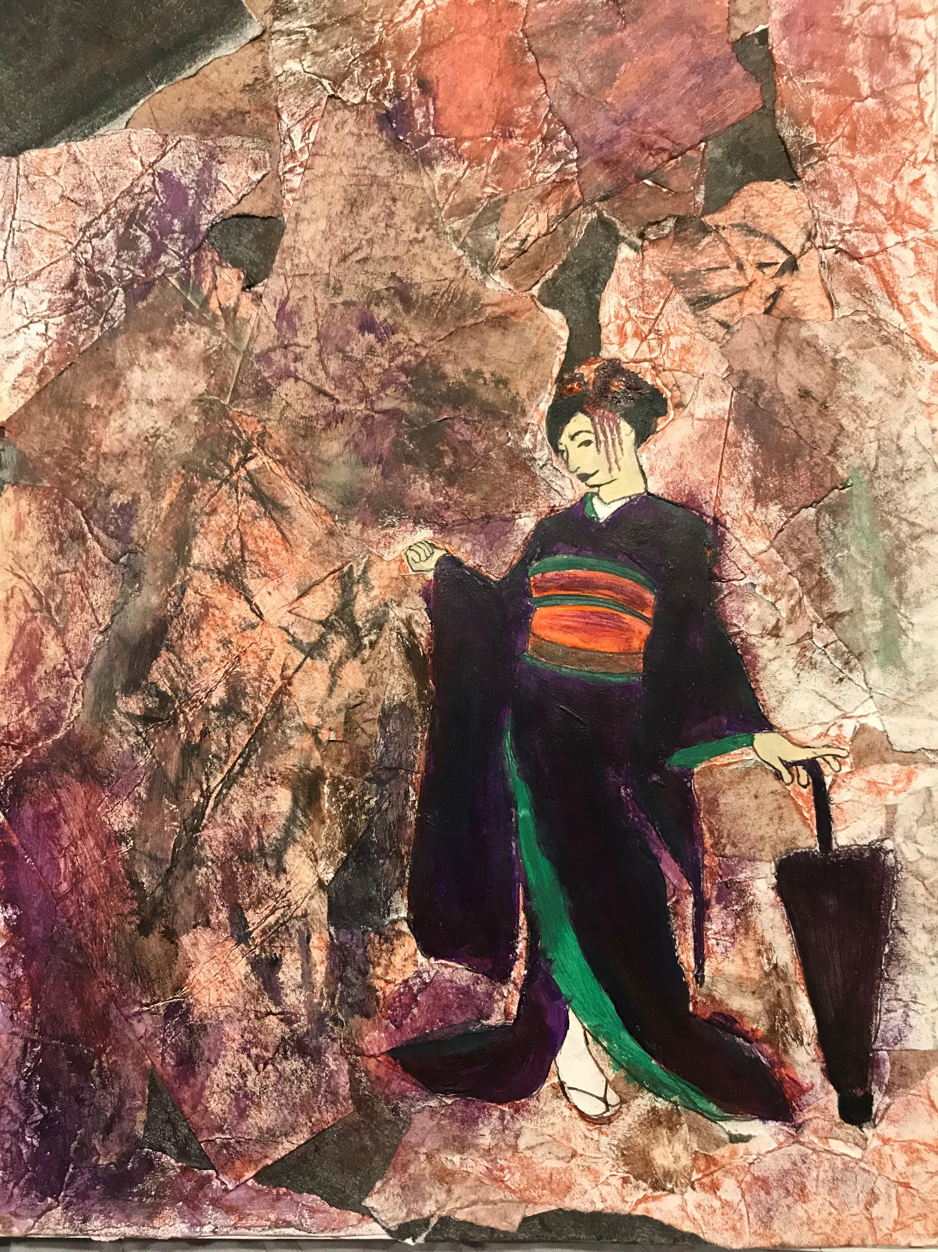 Kimono Girl Against Stone Noise