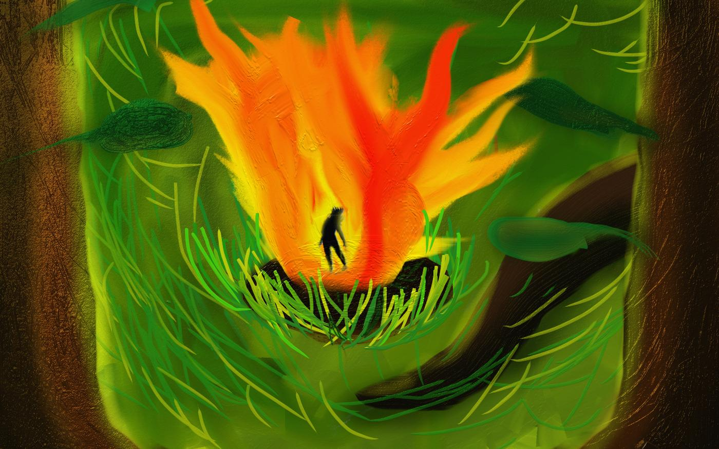 Man on fire in a forest