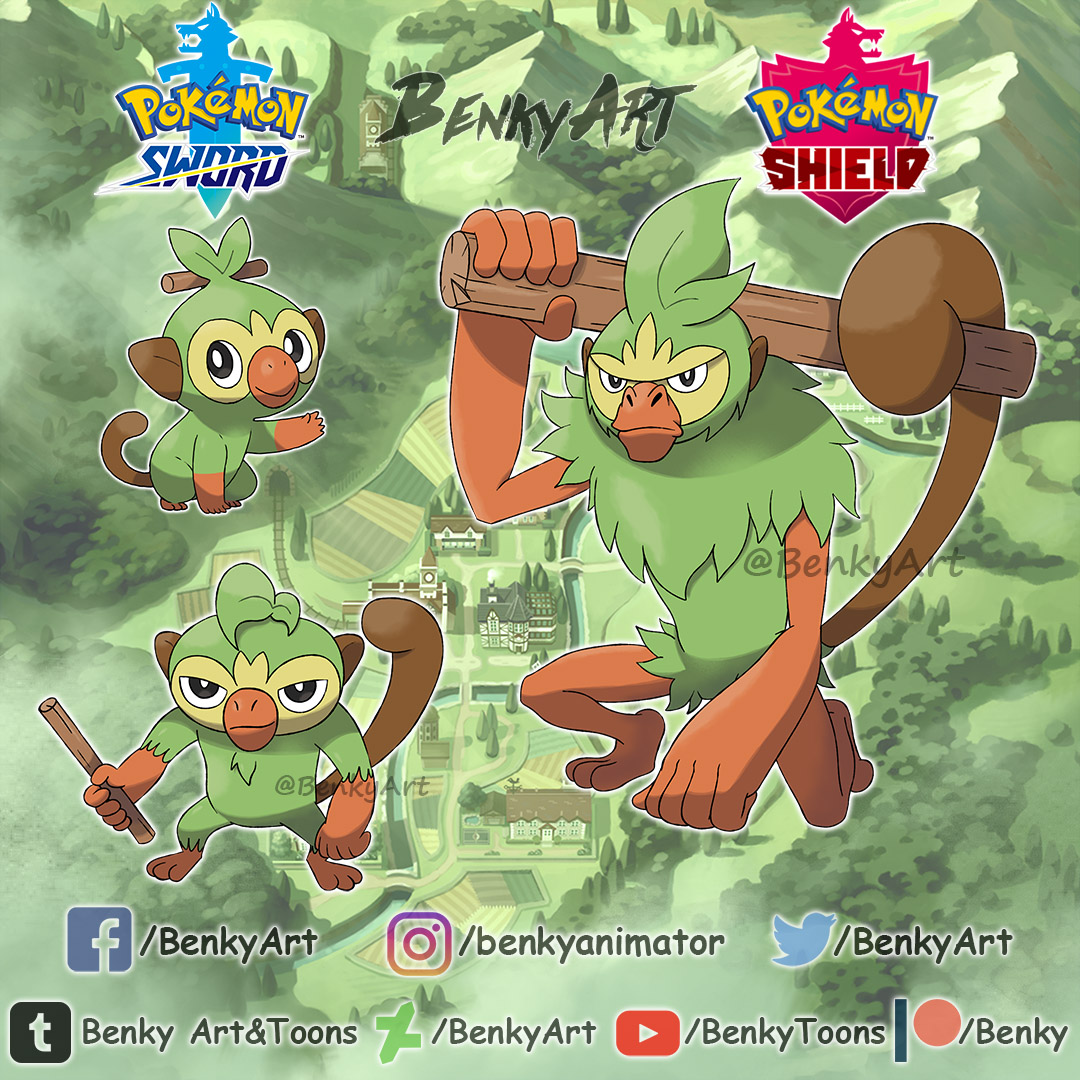 Grookey Evolutions Fanmade By Ben Ky On Newgrounds Grovyle's strongest moveset is quick attack & grass knot. grookey evolutions fanmade by ben ky