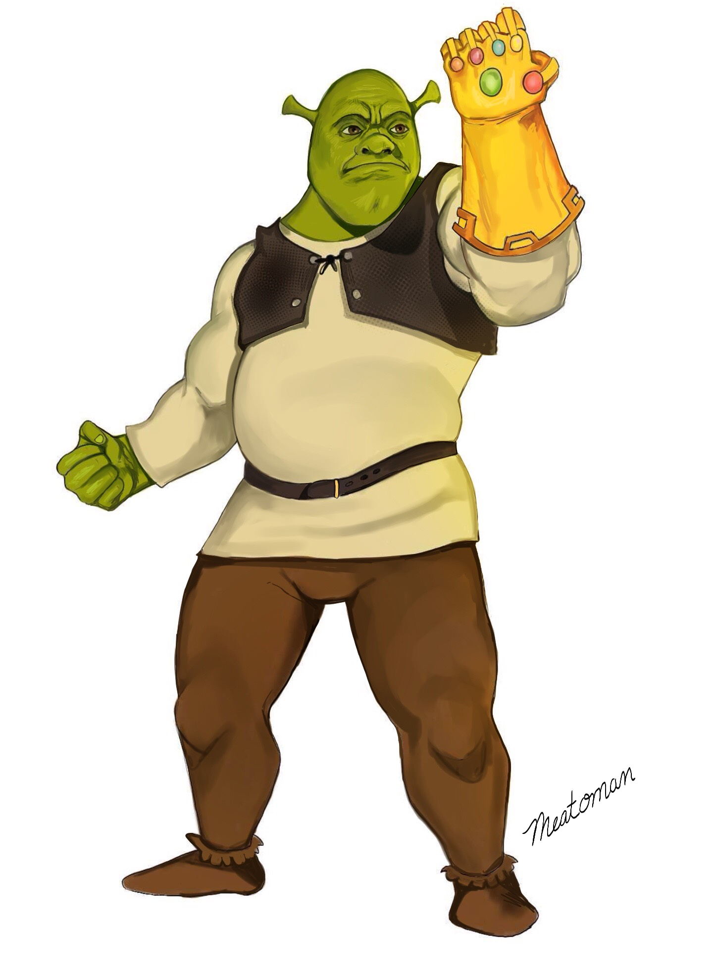 Shrek holding the Infinity Guantlet by Meatoman on Newgrounds