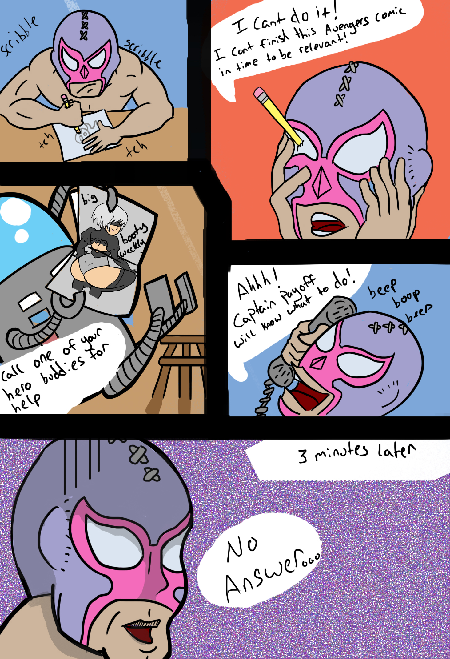 Luchador and Robot NO 2 Newgrounds Comic